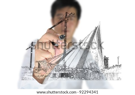 Business man draw construction site - stock photo