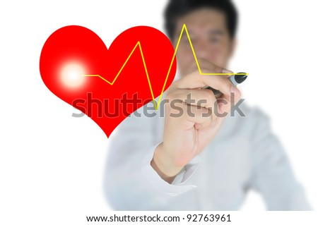 business man draw heart and pulse