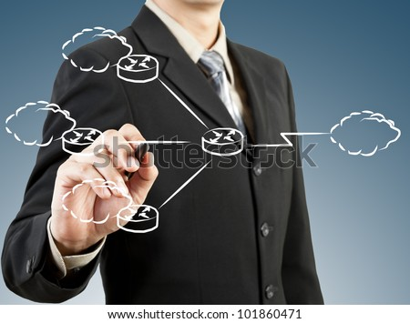 Business man draw network diagram - stock photo