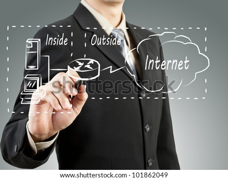 Business man draw network diagram basic concept - stock photo