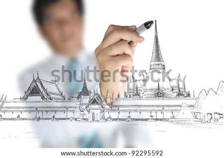 Business man draw Scenic of Wat Phra Kaew temple at Royal grand palace in bangkok of thailand - stock photo