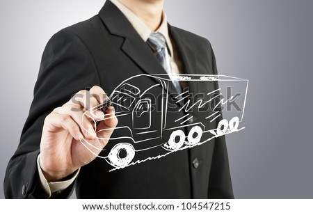 Business man draw truck  transportation - stock photo