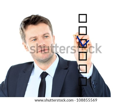business man draw with marker on empty copy space isolated on white - stock photo