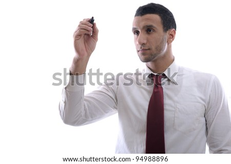 business man draw with marker on empty copy space isolated on white in studio - stock photo