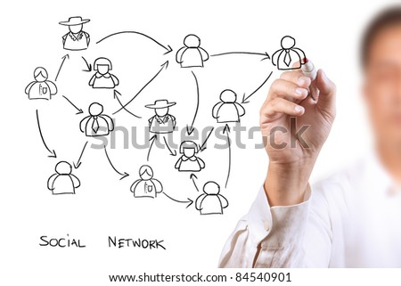 business man drawing a social network - stock photo