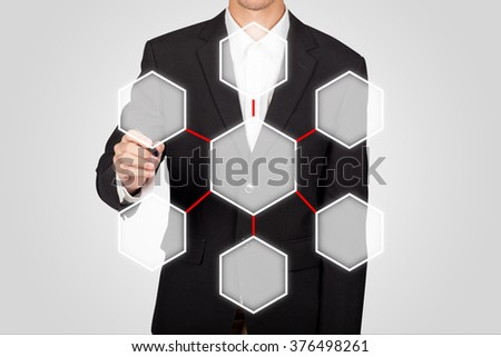 business man drawing center linked reversible process diagram - stock photo