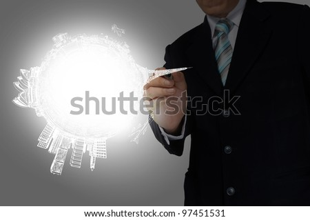 Business Man Drawing earth globe - stock photo