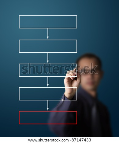 business man drawing flowchart diagram - stock photo