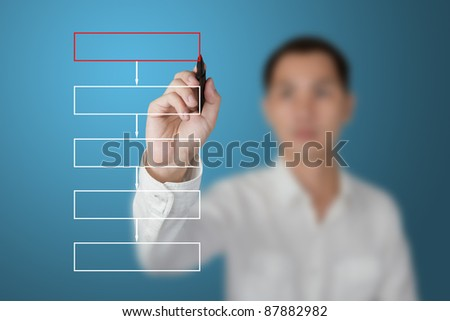 business man drawing flowchart diagram on white board - stock photo
