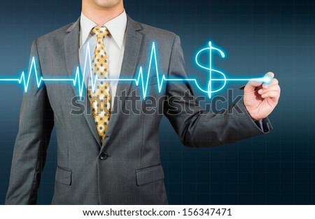 business man drawing glow ECG wave and dollar sign - stock photo