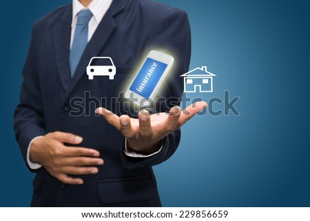 Business man drawing insurance concept  - stock photo