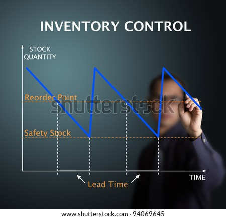 business man drawing inventory control graph - stock management concept - stock photo