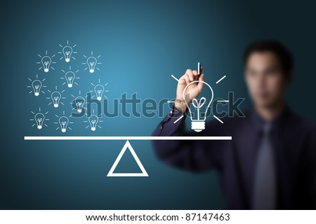 business man drawing many small idea weight equal to one big idea weight - stock photo