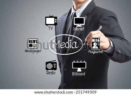 Business man drawing media Icons diagram - stock photo