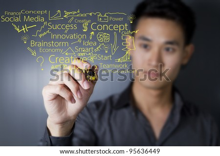 Business man drawing on transparent glass. - stock photo