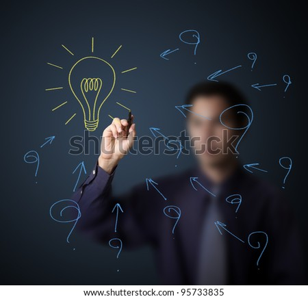 business man drawing problem or question and solution light bulb - stock photo