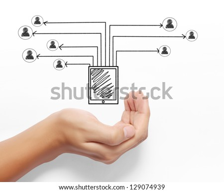 Business man drawing social network in hand - stock photo