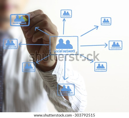 Business man drawing social network structure - stock photo