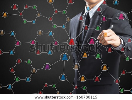 Business man drawing social network structure on a white board - stock photo