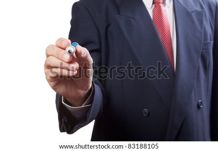 business man drawing something - stock photo