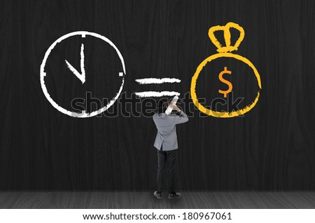 Business man drawing Time is money symbol concept