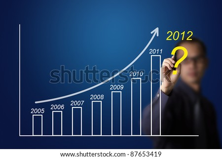 business man drawing upward trend graph and question for 2012 - stock photo