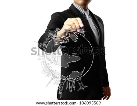Business man drawing World - stock photo