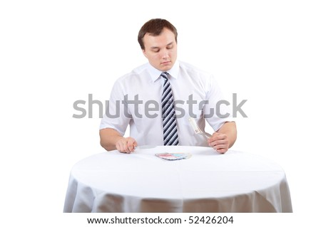 Business man eat euro on lunch, isolated white background. - stock photo