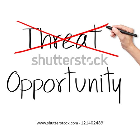 business man eliminate threat and choose opportunity - stock photo