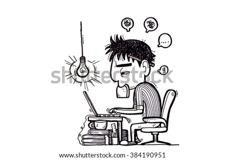 Business man employee being desperate of too much work at his desk full of documents - hand drawn sketch - stock photo