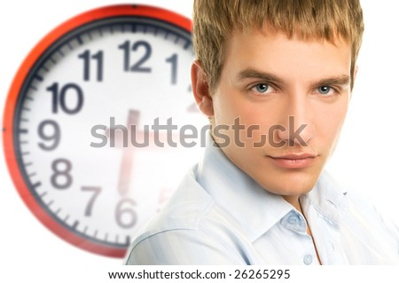 Business man face and clock - stock photo