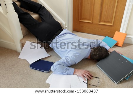 Business Man Falling Down The Stairs In Office Concept For Accident And Insurance Injury Claim