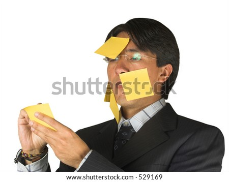 business man fill of post it notes - stock photo