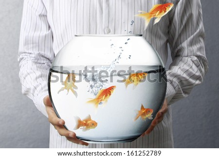 Business man flying goldfishes from one to another  - stock photo