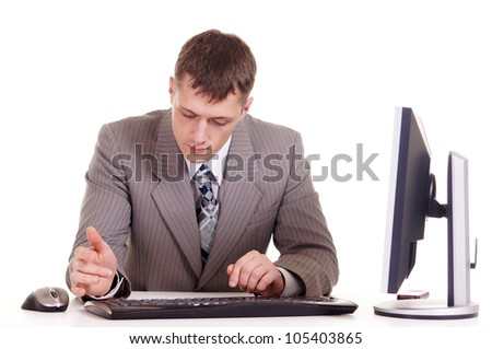 business man for Computer on a white background - stock photo