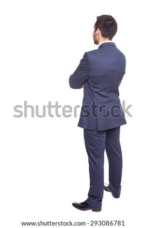Business man from the back, isolated on white background - stock photo