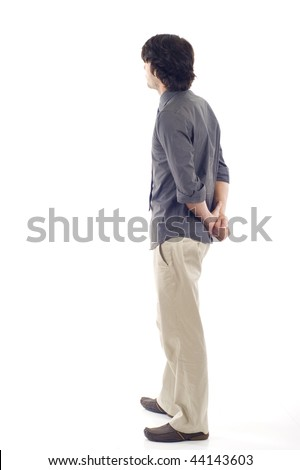business man from the back - looking at something over a white background - stock photo