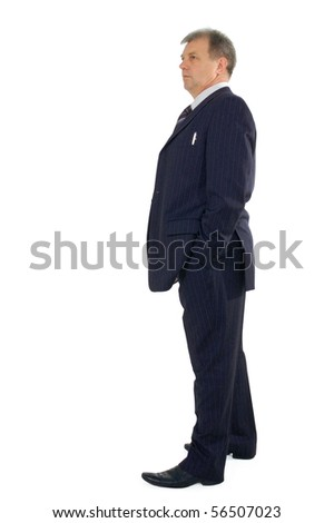 business man full-length isolated on white background - stock photo