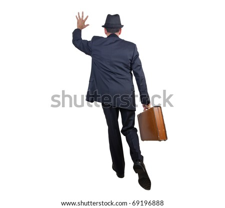 Business man getting somebody's attention while running - stock photo