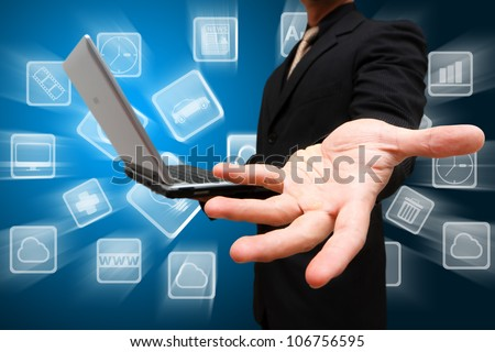 Business man give a hand and App store icon - stock photo