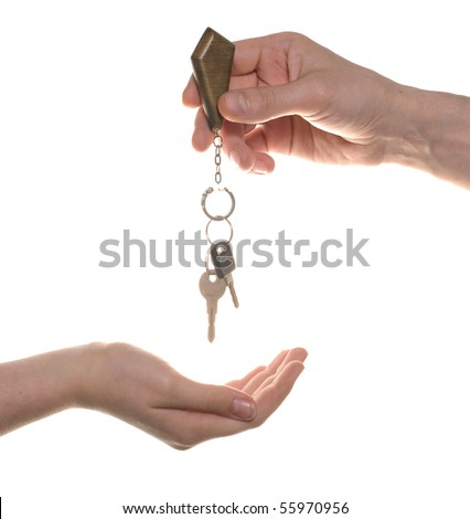 business man give to woman a key isolated over white - stock photo