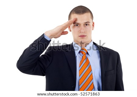 Business man gives salute isolated on white background - stock photo