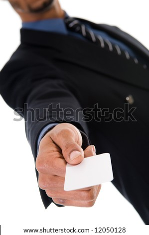 business man giving a blank card on white - stock photo