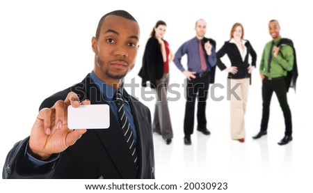 business man giving a blank card on white with team - stock photo