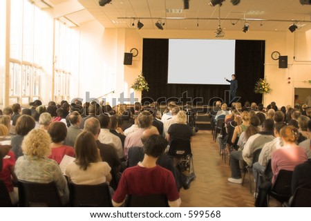 business man giving a conference in a room - stock photo