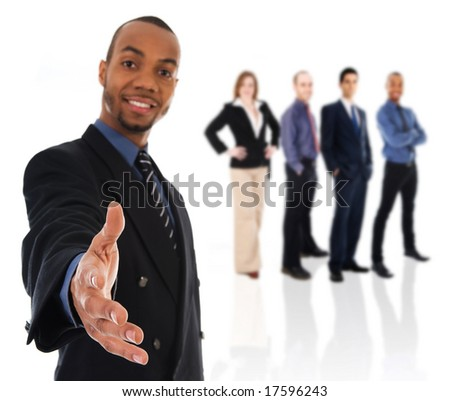 business man giving a hand shake on white