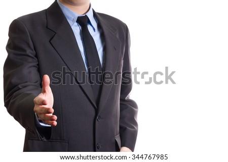 business man giving handshake isolated on white background - stock photo