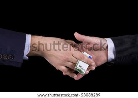 Business man giving to another a euro banknote