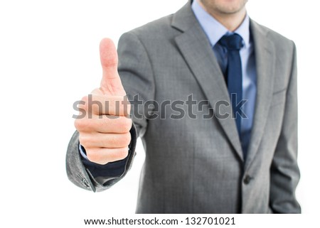 business man going thumb up - stock photo