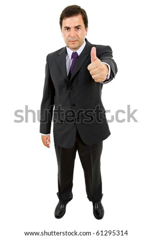 business man going thumb up, isolated on white - stock photo